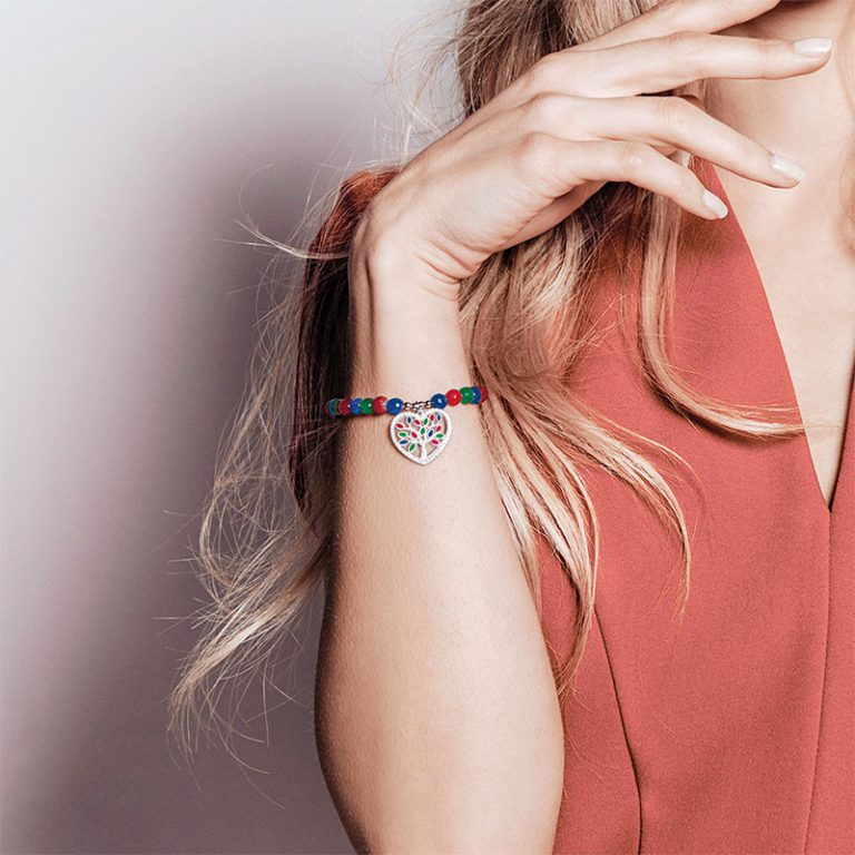 Color life Albero della vita bracciale in argento e zirconi con agata sfaccettata multicolor