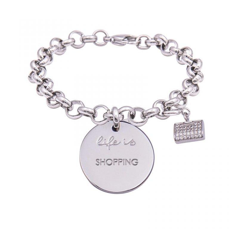 Life Is bracciale messaggio con scritte charm zirconi shopping