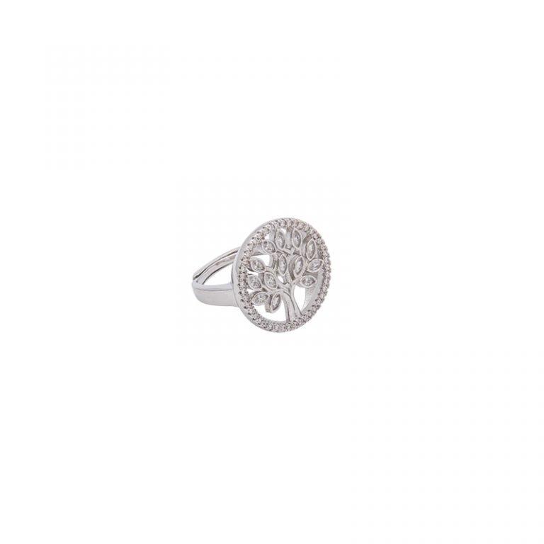 Life albero della vita anello ottone acciaio zirconi