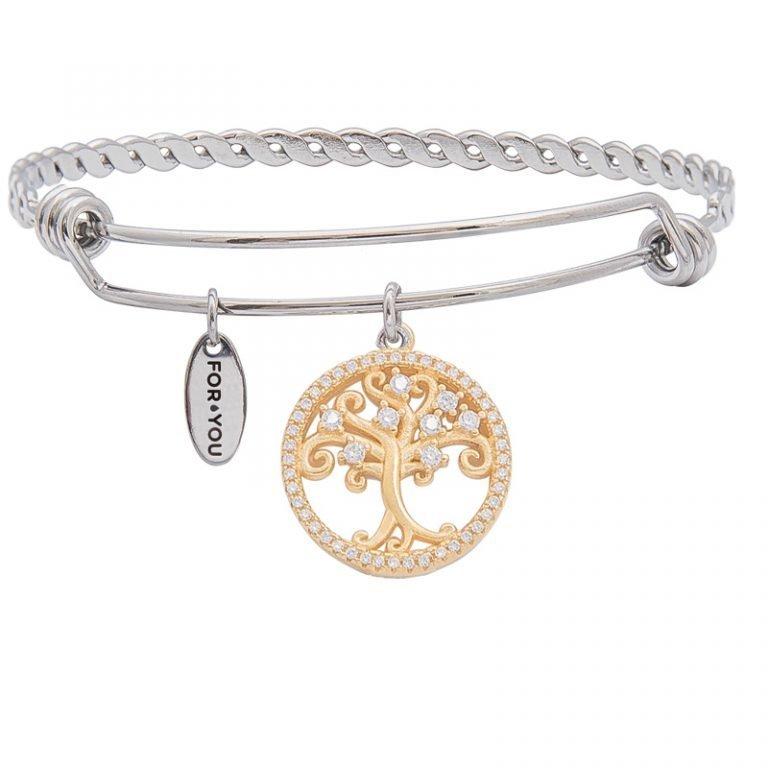 Life albero della vita bracciali ottone acciaio zirconi