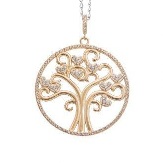 Life albero della vita collana ottone acciaio zirconi
