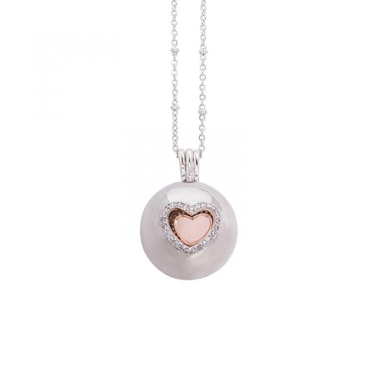 Lifesound collana chiama angeli ottone acciaio zirconi cuore