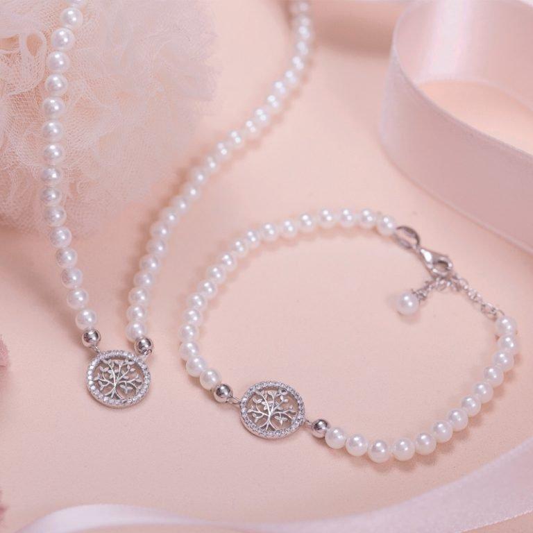 My Life Albero della vita bracciale e collana in argento zirconi e shell pearls