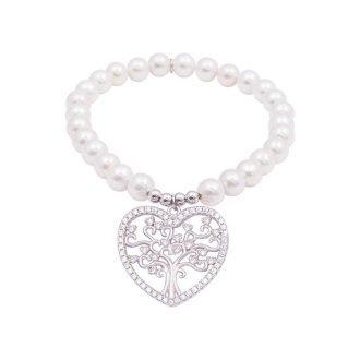 My Life Albero della vita bracciale in argento zirconi e shell pearls
