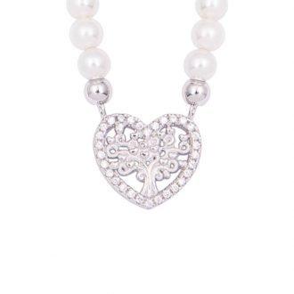My Life Albero della vita collana in argento zirconi e shell pearls