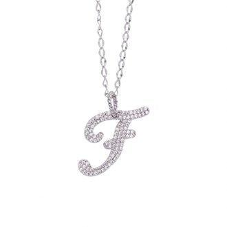 Alphabet ciondolo argento zirconi