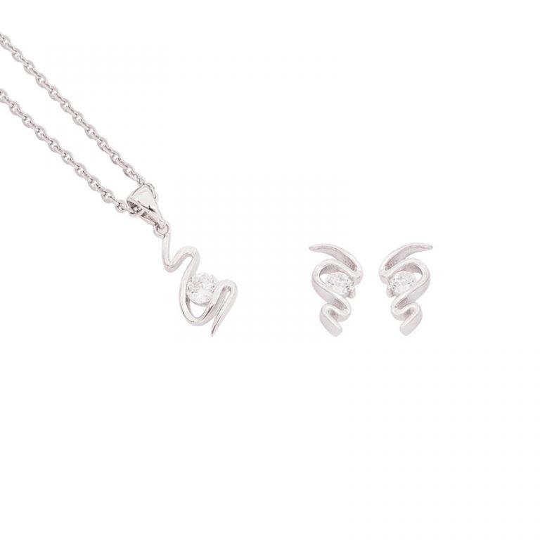 Angie parure ciondolo orecchino argento zircone
