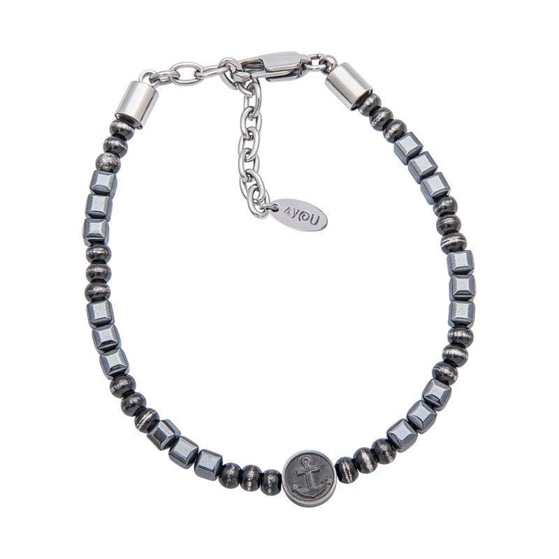 Dark braccialetti acciaio ematite ip nero