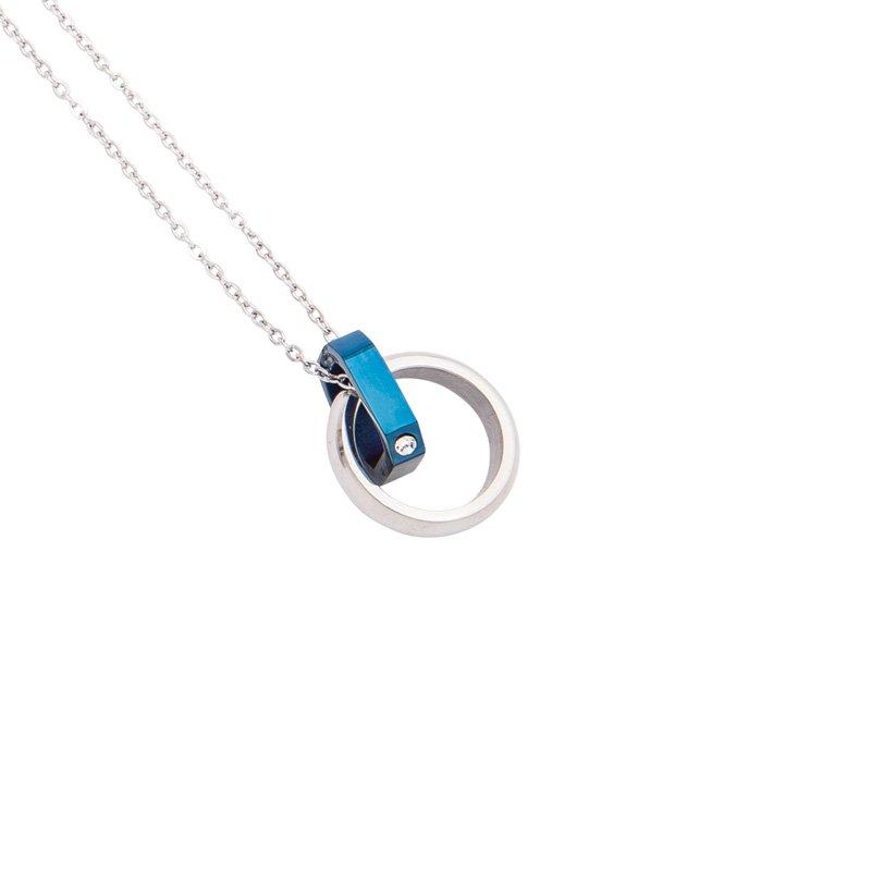 Fabulous collana acciaio ip nero blu cristalli