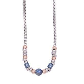 Friendly collana acciaio ip nerorosa blu pietre dure
