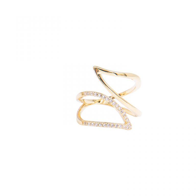 Glitter anello ottone zircone galvanica oro