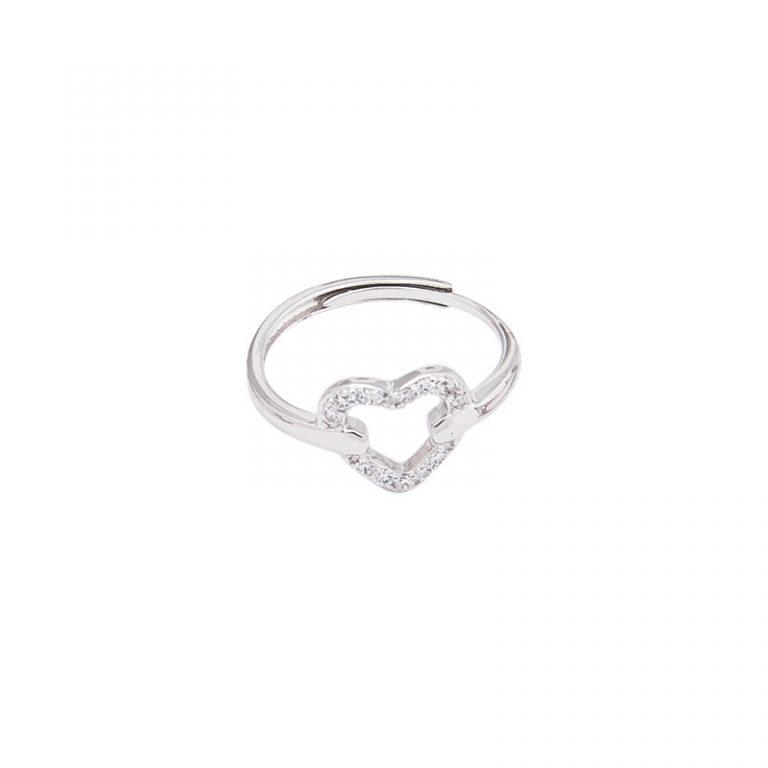 Glossy anello argento zirconi