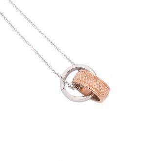 Independent collana acciaio ip oro rosa e cristalli