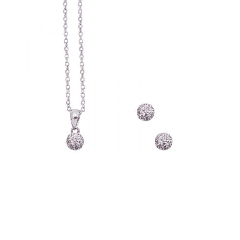 Matilda parure ciondolo orecchino argento zircone