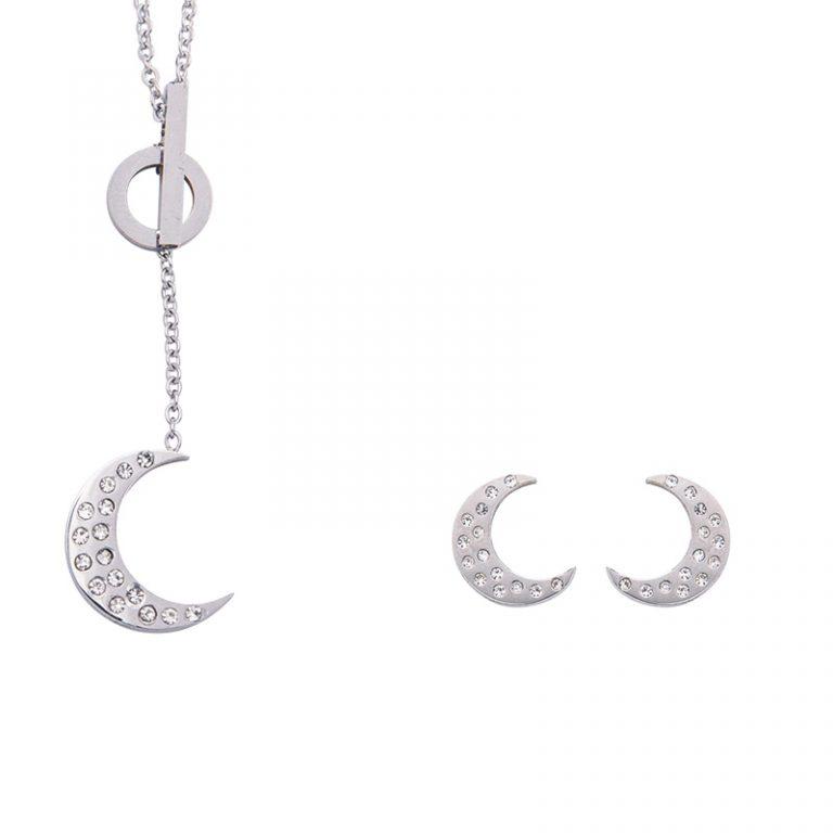 Sabina parure collana orecchino acciaio cristalli