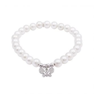 Bracciale Carly in argento rodiato e zirconi con shell pearls B09704 4 You Jewels
