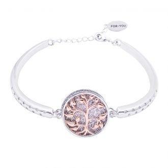 Life Emozioni albero della vita bracciale argento rodiato e zirconi For You Jewels