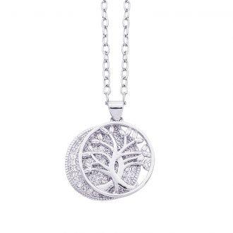 Life Emozioni albero della vita collana argento rodiato e zirconi For You Jewels