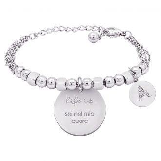 Life is Letters bracciale con medaglietta sei nel mio cuoree charm in zirconi For You Jewels