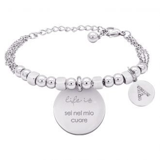 Life is Letters bracciale con medaglietta sei nel mio cuoree charm in zirconi For You Jewels