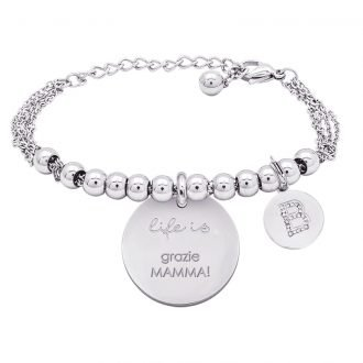 Life is Letters bracciale con medaglietta grazie mamma! e charm in zirconi For You Jewels