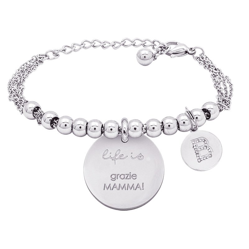 Life is Letters bracciale con medaglietta grazie mamma! e charm in zirconi For You Jewels