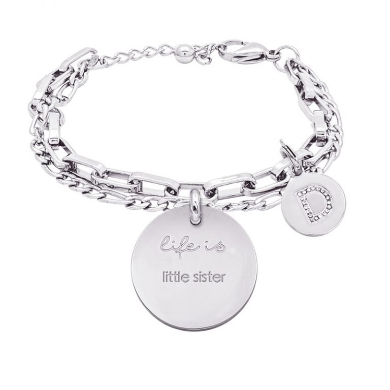 Life is Letters bracciale con medaglietta little sister e charm in zirconi For You Jewels