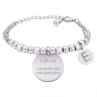 Life is Letters bracciale con medaglietta del mio bambino e charm in zirconi For You Jewels