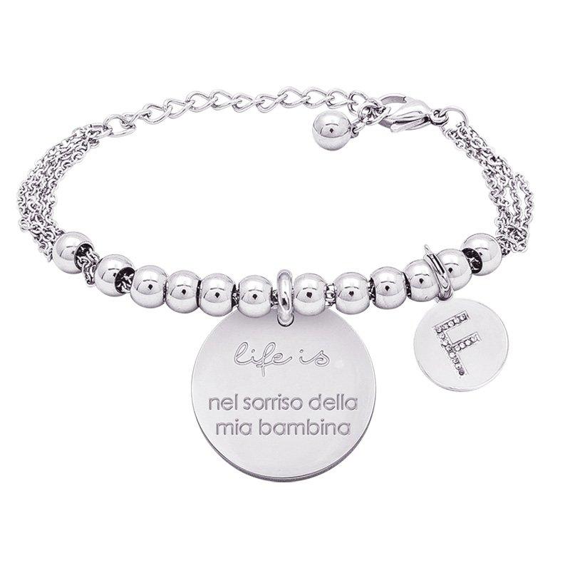 Life is Letters bracciale con medaglietta nel sorriso della mia bambina e charm in zirconi For You Jewels