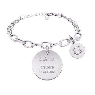 Life is Letters bracciale con medaglietta credere in se stessi e charm in zirconi For You Jewels