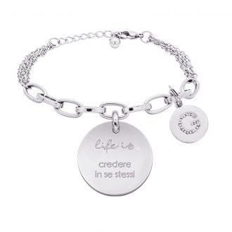 Life is Letters bracciale con medaglietta credere in se stessi e charm in zirconi For You Jewels