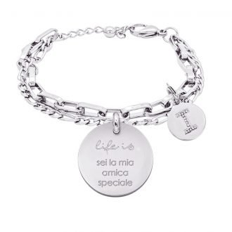 Life is Letters bracciale con medaglietta sei la mia amica speciale e charm in zirconi For You Jewels