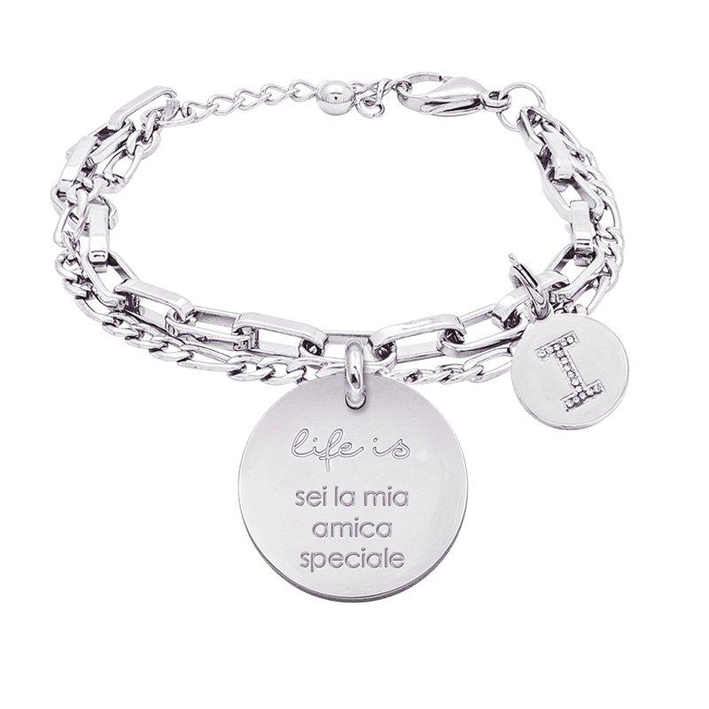 Life is Letters bracciale con medaglietta sei la mia amica speciale e charm in zirconi For You Jewels