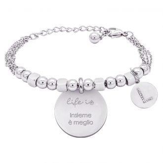 Life is Letters bracciale con medaglietta insieme è meglio e charm in zirconi For You Jewels
