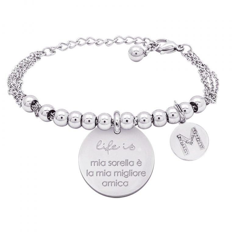 Life is Letters bracciale con medaglietta mia sorella è la mia migliore amica e charm in zirconi For You Jewels