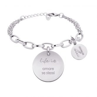 Life is Letters bracciale con medaglietta amare se stessi e charm in zirconi For You Jewels