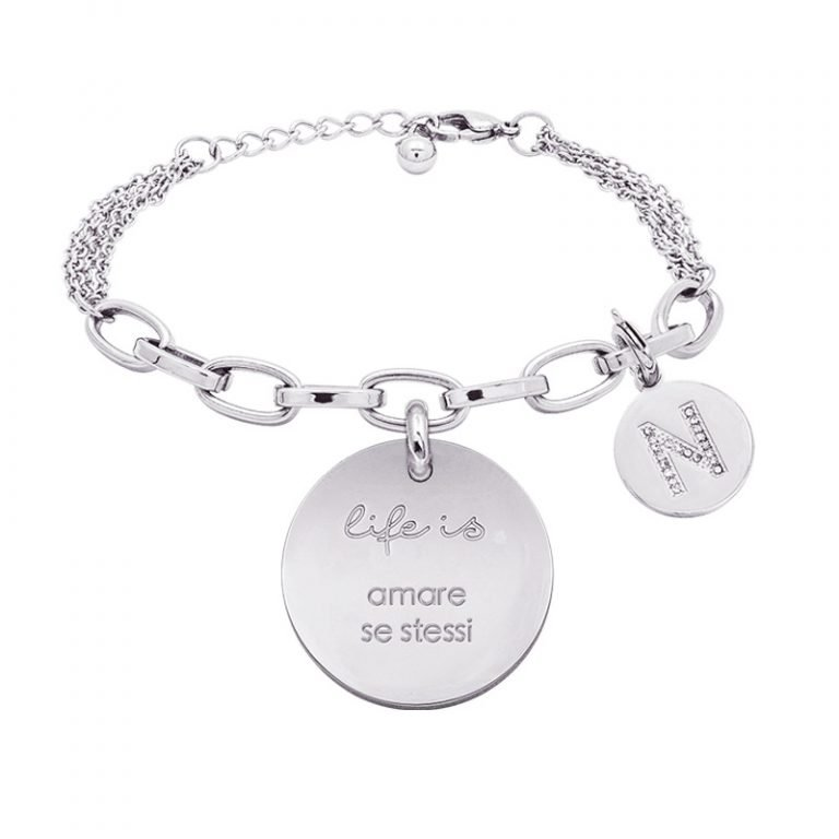 Life is Letters bracciale con medaglietta amare se stessi e charm in zirconi For You Jewels