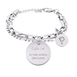 Life is Letters bracciale con medaglietta la mia amica del cuore e charm in zirconi For You Jewels