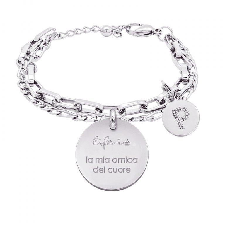 Life is Letters bracciale con medaglietta la mia amica del cuore e charm in zirconi For You Jewels