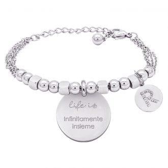 Life is Enjoy bracciale con medaglietta infinitamente insieme e charm in zirconi For You Jewels