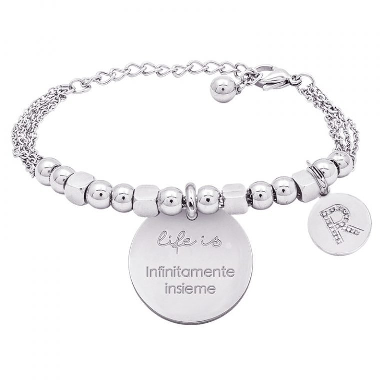 Life is Enjoy bracciale con medaglietta infinitamente insieme e charm in zirconi For You Jewels