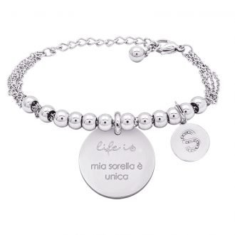 Life is Enjoy bracciale con medaglietta mia sorella è unica e charm in zirconi For You Jewels