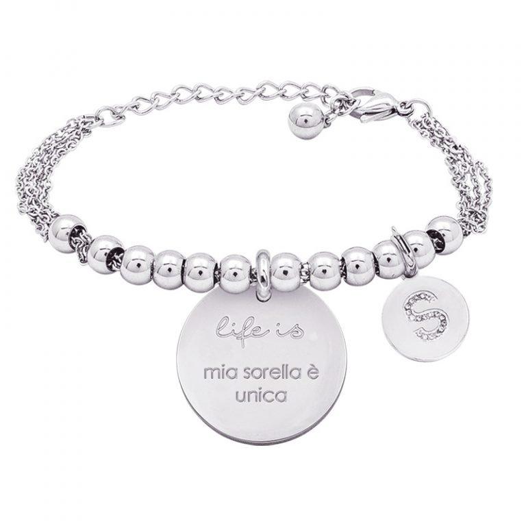 Life is Enjoy bracciale con medaglietta mia sorella è unica e charm in zirconi For You Jewels