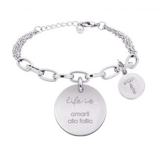 Life is Enjoy bracciale con medaglietta amarti alla follia e charm in zirconi For You Jewels