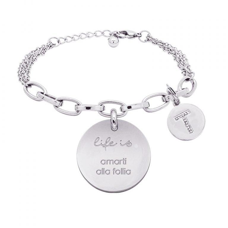 Life is Enjoy bracciale con medaglietta amarti alla follia e charm in zirconi For You Jewels