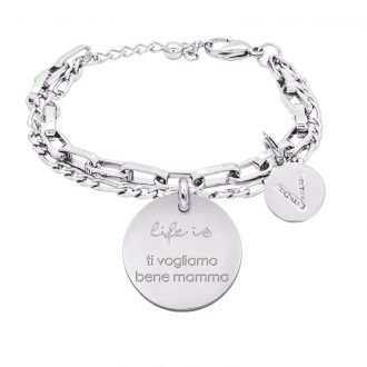 Life is Letters bracciale con medaglietta ti vogliamo bene mamma e charm in zirconi For You Jewels