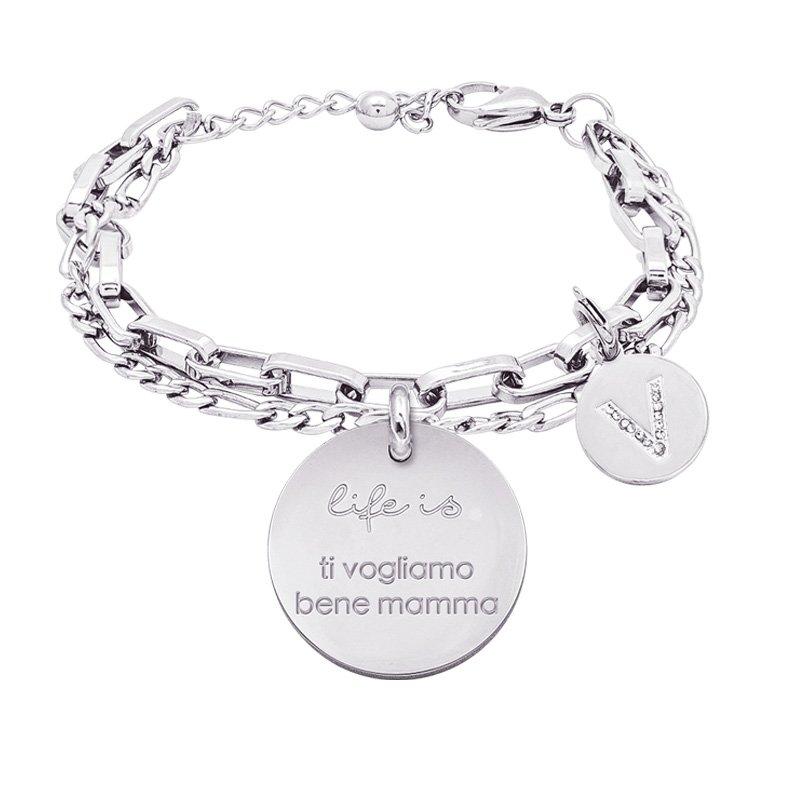 Life is Letters bracciale con medaglietta ti vogliamo bene mamma e charm in zirconi For You Jewels