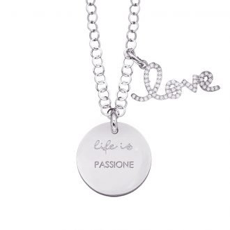 Life is Enjoy collana con medaglietta passione e charm in zirconi For You Jewels