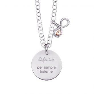 Life is Enjoy collana con medaglietta per sempre insieme e charm in zirconi For You Jewels