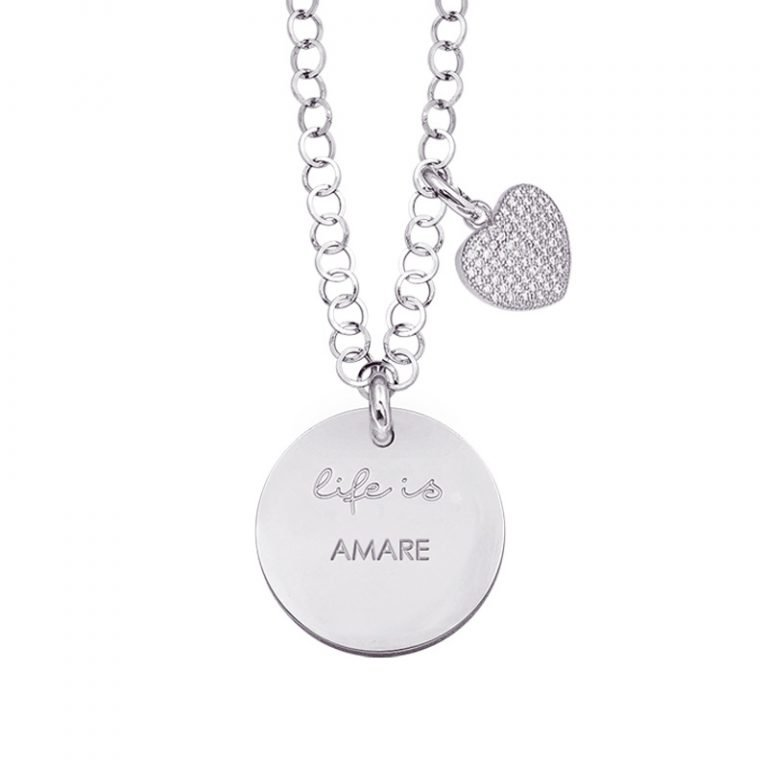 Life is Enjoy collana con medaglietta amare e charm in zirconi For You Jewels
